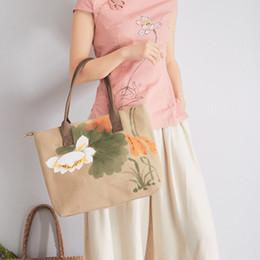 $enCountryForm.capitalKeyWord Australia - New Pattern Cotton Hand Lotus Ma'am Literature Fan Da Bao Flax Scenery Area Handbag Single Shoulder Package