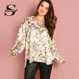 43c716cda2 7 Fotos Compra Online Camisas blusas xs-Sheinside Talla Extra Cadena  Estampado Satén Blusa Mujeres Camisa larga