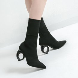 Fall Style Boots NZ - Pointed Toe Casual Strange Style Fall Ankle Boots Women High Mid-Calf Slip-On Boots Sewing Solid Fashion Shoes Plus Size