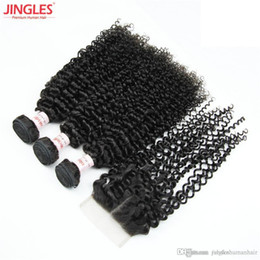 Discount unprocessed brazilian curly hair closure - Brazilian Remy Human Hair 3 Bundles with 4x4 top lace Closure Kinky curly 100% Unprocessed Virgin Human hair weave whole