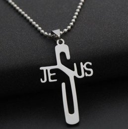 $enCountryForm.capitalKeyWord NZ - Jesus Cross Necklace Pendant Stainless Steel Collar Pendant Women Charm Torque European Fashion Jewelry Friendship Gift Party Accessories