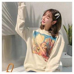 Dear2019 Tide Winter Brand Sweater Hombres y mujeres Lovely Cartoon impresión cuello redondo fácil suelta chaqueta de la capa en venta