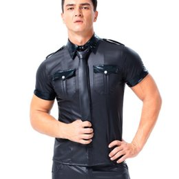 leather collar shirt Australia - Mens Patent Leather Performance Tops Short Sleeve Pocket Lapel Shirts Club Uniform Temptation Gay Security Role-Playing Costumes