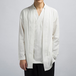 linen tang suit Australia - SHANBAO original Chinese style brand cotton and linen jacket 2018 autumn fashion V-neck Tang suit men's loose linen Hanfu
