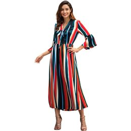 a0528c01539 Woman Long Dress Rainbow Stripe Flare Sleeve Split V Neck Bow Front Ladies  Spring S M L XL Casual Printed Dress