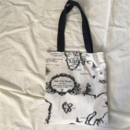 $enCountryForm.capitalKeyWord UK - YILE Cotton Linen Eco Shopping Tote Shoulder Bag Print Black World Map L8625e #192557