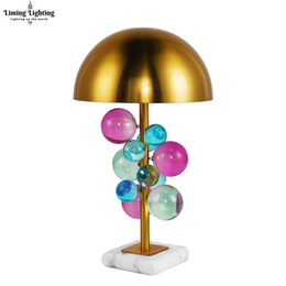 gold table lamp crystal Australia - Post Modern Crystal Bubble Ball Table Lamp Luxury Marble Bedroom Night Bedside Desk Light Study Stand Lighting Fixture Home Deco