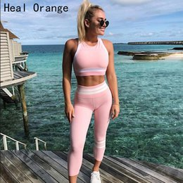 pink suits for women Australia - Heal Orange Pink Suits Elasticity Quick Dry Yoga Set Leggin Workout Sets Sport Clothes For Women Gym Clothing Active Wear Womens SH190914