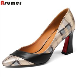plus size gold tops women Canada - ASUMER Plus size 34-43 new top quality genuine leather shoes woman pointed toe summer women pumps high heels ladies dress shoes