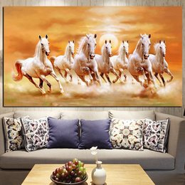 Run Horses Painting Australia - Seven Running White Horse Animals Painting Artistic Canvas Art Gold Posters and Prints Modern Wall Art Picture For Living Room