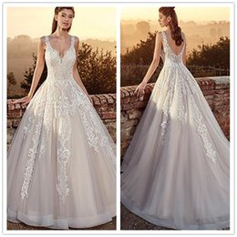 $enCountryForm.capitalKeyWord Australia - 2019 A Line Cheap Wedding Dress Spaghetti Straps Backless Tulle Floor Length with Lace Appliques Wedding Bridal Gowns
