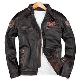Punk Motorcycle Jacket Australia - 2019 Biker Male Genuine Leather Cow Leather Clothing Short Real Jacket Punk Spring Mens Motorcycle Coat 4XL A579