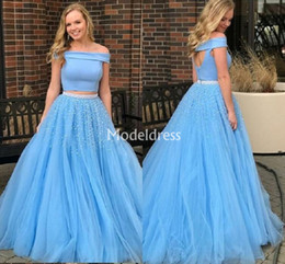 $enCountryForm.capitalKeyWord Australia - 2019 Two Piece Light Blue Prom Dresses Off Shoulder Open Back Floor Length Formal Party Evening Gowns Pearls Modest Special Occasion Dresses