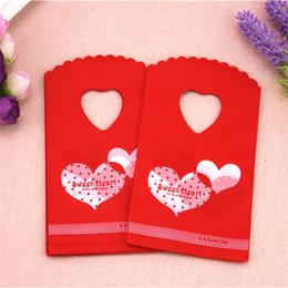 Plastic Red Heart Australia - New Design Hot Sale Wholesale 50pcs lot 9*15cm Small Red Wedding Candy Packaging Double Sweet Heart Plastic Mini Gift Bags