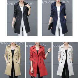 black lady trench coats Australia - Wholesale-Women Trench Coat For Office Lady Go To Work New Fashion Designer Brand Classic European Slim Coat Trench Double Breasted Plus