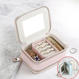 $enCountryForm.capitalKeyWord Australia - Fashion Travel PU Leather Jewelry Zipper Organizer Box Holder Show Case For Ring Earring Storage Display Cosmetic Bags