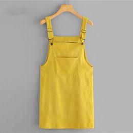 $enCountryForm.capitalKeyWord NZ - Corduroy Dungaree Dress With Pocket Summer Yellow Sleeveless Straps Pinafore Women Casual Plain Straight Short Dress designer clothes
