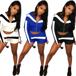 Discount race stands - Summer Womens clothing long sleeve outfits 2 piece set sexy printed shorts tracksuit jogging sport suit sweatshirt tight