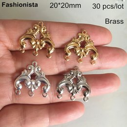 Connector Links For Jewelry NZ - 30 pcs Chandelier Connectors For Earrings,20*20mm,Gold-color,Silver-color,Steel Color,Raw Brass, 1 to 3 Links For Jewelry -HY