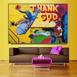 art canvas prints Australia - Thank God Urban Street Art Graffiti Art Poster Wall Photo Pictures Wall Art Living Room Decor Painting Canvas Print No Frame
