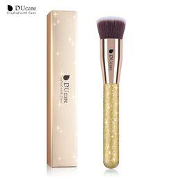 Flat Kabuki Makeup Brushes Australia - DUcare 1 PC Foundation Brush Flat Kabuki Brush Golden Face Brushes For Makeup Cosmetic Tools