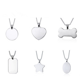 pendant blank heart 2021 - Fashion stainless steel necklace for women and men creative bone star heart shaped blank dog tag pendant necklace