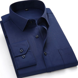 Mens large dress shirt size online shopping - Plus Large Size XL XL XL XL Mens Shirts Casual Long Sleeve Solid Pocket Business Dress Camisas Navy Male Social Button Shirt