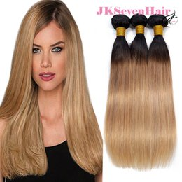$enCountryForm.capitalKeyWord NZ - 1B Honey Blonde Brazilian Virgin Human Hair Straight 3 Bundles Dark Root Honey Blonde Malaysian Peruvian Indian Hair Wefts In Super Quality