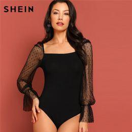 00cc35d60c SHEIN Black Square Neck Dot Mesh Bell Sleeve Skinny Bodysuit Going Out  Modern Lady Autumn Plain Elegant Bodysuits Blouse Y190424