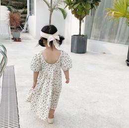 $enCountryForm.capitalKeyWord NZ - Ins Euro Exquisite Summer girls Clothes dress Short Sleeve O-neck Backless Full Flower Design Long Dress 100% Cotton girl Princess Dress