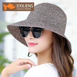 19711434f65 EXILIENS 2018 New Lady Fashion Summer Hat Brand Women s Sun Hats Woman Cap  Casual Straw Foldable Big Brim Shade Sunscreen Girl  47355