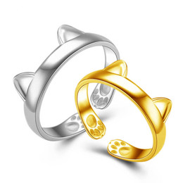 LoveLy rings gift for girLs online shopping - Cute K White Gold Cat Ear Band Rings With Paw Charm Open Rings For Women Party Finger Rings Jewelry Lovely Girls Gold Midi Ring
