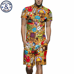 fa4655b5a55 Mens Rompers Cartoon Print 3D Jumpsuits 2019 Summer Men Set Beach Party Short  Sleeve Cargo Overalls One Piece Playsuit