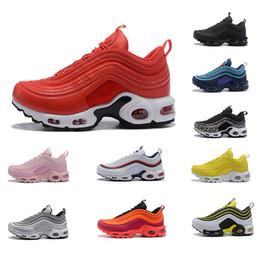 Venta al por mayor de New Designer Nike Air Max 97 Plus Tn Running Hombre Zapatos Mujer Clásico Alta Calidad Negro Blanco Amarillo Rojo Deportes Zapatillas de deporte al aire libre Tamaño 36-46