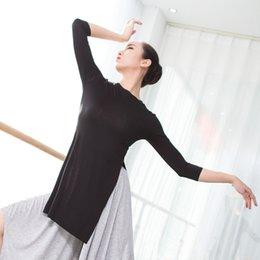 Adult Black Lantern Sleeve Ballet Dance Tops Women Yoga Modern Shirts Ballerina