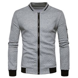 $enCountryForm.capitalKeyWord Australia - Men's Fashion Solid Color Rhombus Plaid Printing Jackets 2019 New Casual Stand Collar Zipper Long Sleeve Slim Fit Leisure Coats