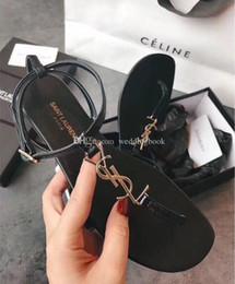 $enCountryForm.capitalKeyWord Australia - Classic style Genuine leather Summer Lidies Falt heel ysl sandals Pinch buckle Open Toe sandals Ladies Comfortable outdoor slippers