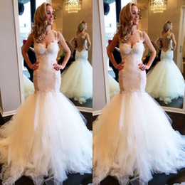 $enCountryForm.capitalKeyWord Australia - Charming Mermaid Wedding Dress Sweetheart Lace Appliques Backless Long Tulle Bridal Gown Custom Made Tiered Wedding Gown