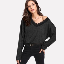$enCountryForm.capitalKeyWord Australia - Black Solid Eyelash Lace Casual Knitted Sweater Autumn Green V Neck Women Jumper Pullovers Loose Winter Sweater