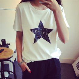 si shirts NZ - Five-pointed star female 2019 simple all-match printed loose short-sleeved fashionable round collar Five-pointed star T-shirt female 2019 si