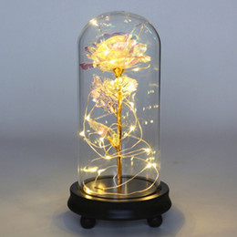 best string lights NZ - Valentine's Day Artificial Gold Foil Rose Flower And LED Light String In Glass Dome On Wooden Base The Best Gift For Women