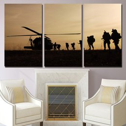 canvas prints free shipping NZ - 3 Panel HD Printed Canvas Art Helicopter Army Sunset Wall Pictures For Living Room Canvas Painting Artwork Free Shipping