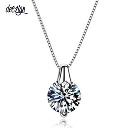 Necklaces Pendants Australia - Deczign New Silver 925 jewelry Round Zircon Super Bright Cubic Zirconia Fashion Pendant Necklaces for Women SZ10957R