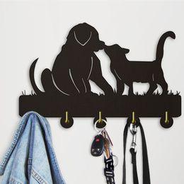 Wood Wall Hangings Art Australia - 1Piece Adorable Dog Cat Key Holder On The Wall Clothing Coat Hook Hanging Rack Hanger Hooks Animal Hanger Wooden Wall Art Decor