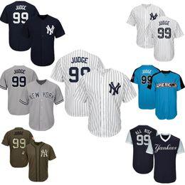 e9a7fcb34 Mens New York Yankees Baseball Jerseys 99 Aaron Judge Jersey Navy Blue  White Gray Grey Green Salute Players Weekend All Star Team Logo