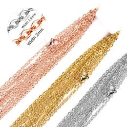 $enCountryForm.capitalKeyWord Australia - Aiovlo 10pcs lot Stainless Steel Link Rose Gold Gold Steel Chains Necklaces DIY Jewelry Cuban Chains Suit Wholesale Bulk Sale