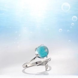 delicate rings NZ - 925 Sterling Silver Blue The heart of the ocean blue Ring Jewelry Delicate Tail of fish Ring Studs simple fashion jewelryu
