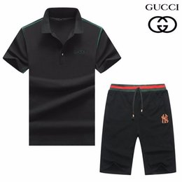 Hot Cotton Sportswear NZ - Summer 2019 high-end new cotton short-sleeved two-piece sportswear casual handsome hot sports suit personality men 608 8165