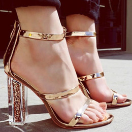 elegant gold sandals Australia - Fashion Women Open Toe Strappy Ankle Strap Crystal Transparent Clear Sequined High Heels Shoes Elegant Thick Heels Gold Sandals Y19070503