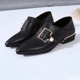 Woman Shoes Low Heels NZ - Dress Shoes Casual Pumps Women Female Buckle Large Size Single Pointed Thick With Low Heel Ankle Boots Wedding Woman #1220